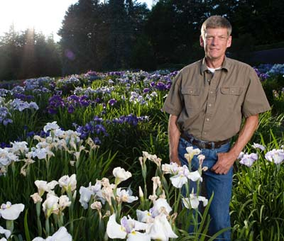 Chad in a seedling field of Iris ensata.